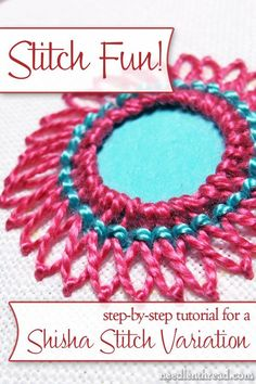 This is a gorgeous shisha stitch variation used in hand embroidery. Embroidery Stitches Tutorial, Embroidery Techniques, Ribbon Embroidery, Cross Stitch Embroidery, Embroidery Patterns, Machine Embroidery, Folk Embroidery, Funny Cross Stitch Patterns, Lesage