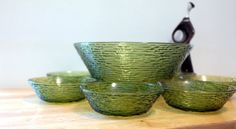 Mid Century Sereno Salad Bowl Set by Anchor Hocking