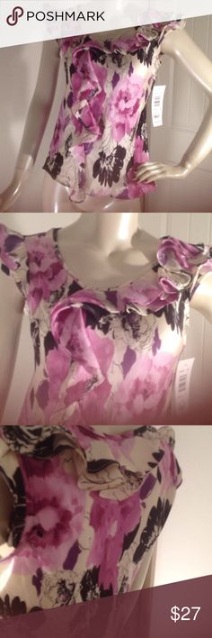 NWT DOMESTIC VIOLENCE HUGE SALE!! 4 TOPS/$25 This is a beautiful sunny Leigh blouse with gorgeous colors and flowers and ruffles on the blouse and size pp brand new never worn has tag  PLEASE HELP! PLEASE SHARE!  PLEASE LOOK BUNDLE 4 TOPS  FOR ONLY $25!!! PLEASE PLEASE SHARE Sunny Leigh Tops Blouses