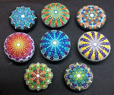 Eight Hand Painted Mandala Stones by artist Kimberly Vallee. These were custom made. Absolutely Stunning!!