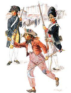 """Summer 1789""  • Militiaman, Gardes Bourgeoises  • Parisian rioter  • Grenadier, Gardes Françaises"