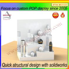 Skin care products display racks White display racks with the characteristics of skin care products to attract more customers