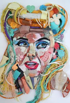 Tess Felix - recycled art Apart (one person)/ Together (lots of objects)/ Portrait/ Recycle/ Collage Collages, Collage Art, Collage Portrait, Recycled Art Projects, Trash Art, Found Object Art, Plastic Art, A Level Art, Arts Ed