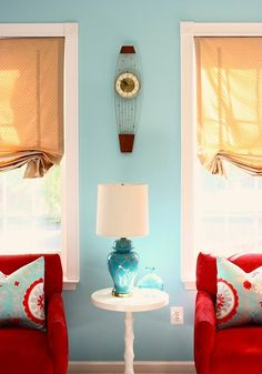 Great Room Makeover With Red And Turquoise Throw Pillow As Accent    Decorating With Color   Pinterest   Turquoise, Living Rooms And Room  Makeovers