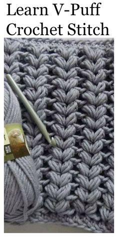 Crochet V Puff Stitch Free Video Tutorial stitches for beginners Croche. Crochet V Puff Stitch Free Video Tutorial stitches for beginners Crochet V Puff Stitch Tut Crochet Simple, Crochet Diy, Love Crochet, Crochet Crafts, Double Crochet, Scarf Crochet, Chrochet, Crochet Ideas, Puff Stitch Crochet