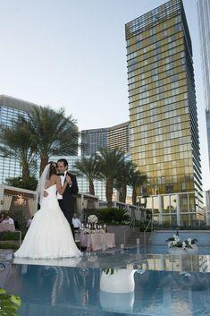 Las Vegas Wedding Planner Mandarin Oriental First Look Navy Bridesmaid Dresses White Peony Bouquet Candlelight Centerpiece