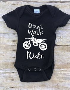 Crawl Walk Ride One Piece Bodysuit/Dirtbike One Piece Bodysuit/Motocross Baby Gear/Supercross Baby/DirtBike Baby/Offroad One Piece Bodysuit tammy lynn misenheimer … Motocross Baby, Motorcycle Baby, Baby Bike, Boy Onesie, One Piece Bodysuit, Baby Shirts, Kids Shirts, Cute Baby Clothes, Baby Gear