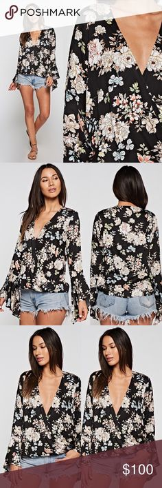 Premium Floral Bell Sleeve Surplice Top Beautiful floral print top with cascading bell sleeve detail. 100% rayon challis Love Stitch Tops Blouses