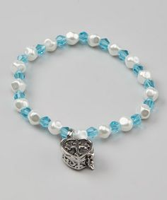 Take a look at this Blue Heart Prayer Box Bracelet by Alexa's Angels on #zulily today!