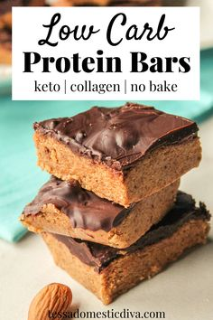 A delicious protein filled nut butter and collagen no bake bar!  Quick to make and totally addicting! High Protein Salads, Low Carb Protein Bars, Low Carb Keto, Low Carb Recipes, Real Food Recipes, Healthy Recipes, Keto Fruit, Collagen Protein, Nutritious Breakfast
