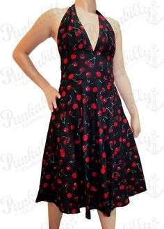 Black Rockabilly Dress with Cherry Print [DR-033] - $64.80 : Pin Up Rockabilly Clothing | 50s Vintage Clothes | Pinup Clothing Shop