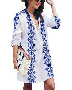 c4a0df7eb3 Women's Bathing Suits Cover Up Beach Bikini Swimwear Embroidered Top (White-  M) - White - CE188E3DD2S