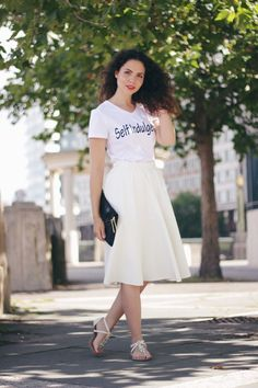 What Defines Us | Statement T | A line midi skirt  #streetstyle #fashion #style #bloggers #fashionbloggers