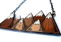 Love. It.   Brown and White Mountain Necklace by blockpartypress on Etsy, $45.00