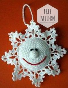 Mesmerizing Crochet an Amigurumi Rabbit Ideas. Lovely Crochet an Amigurumi Rabbit Ideas. Crochet Snowflake Pattern, Christmas Crochet Patterns, Holiday Crochet, Crochet Snowflakes, Crochet Flower Patterns, Crochet Gifts, Cute Crochet, Knitting Patterns, Crochet Ornaments