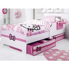 Hello Kitty Toddler Bed With Storage And Bedside Shelf