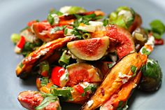 So many fabulous flavors in this Roasted sweet potato, fig & goat cheese salad w/ Thai basil, chilli & green garlic