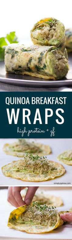 *replace eggs w/alkaline vegan recipe* Herbed Quinoa Breakfast Wraps - these are a quick, easy and totally portable breakfast. Packed with protein + super delicious! Breakfast Wraps, Quinoa Breakfast, Healthy Breakfast Recipes, Vegetarian Recipes, Cooking Recipes, Healthy Recipes, Breakfast Dessert, Healthy Tips, Breakfast Ideas