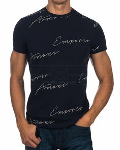 Emporio Armani T Shirt - Signature Logo Camisa Polo, Emporio Armani, T Shart, Armani Shirts, Armani Store, Hype Clothing, Man Dressing Style, Tee Shirt Designs, Dress With Boots