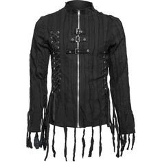 This black mens zipper shirt with fringes is a uniqe design from the Queen of Darkness line of goth clothes.