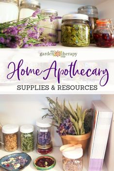 Home Apothecary Supplies and Resources for Natural Beauty Recipes. Everything you need to assemble your own herbal apothecary for natural beauty recipes. Beauty Create a Herbal Home Apothecary with this Supplies & Resource Guide - Garden Therapy Healing Herbs, Natural Healing, Natural Oil, Medicinal Herbs, Natural Home Remedies, Herbal Remedies, Health Remedies, Holistic Remedies, Herbal Medicine