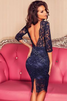 Elegant Navy Blue Lace Padded Bust V Back Party Dress Tight Dresses, Sexy Dresses, Cute Dresses, Beautiful Dresses, Evening Dresses, Short Dresses, Fashion Dresses, Midi Dresses, Lace Dress