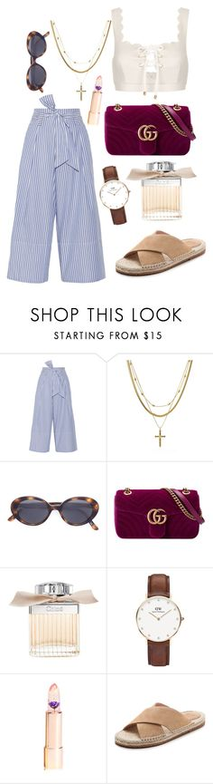 """""""Parisian Summer"""" by emilyypratt ❤ liked on Polyvore featuring By Malene Birger, Marysia Swim, Luv Aj, Oliver Peoples, Gucci, Chloé, Daniel Wellington and Charlotte Stone"""