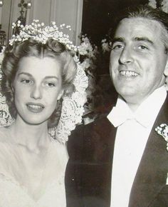 Gorgeous Anita Louise with her striking husband, Buddy Adler on their Wedding Day, 1940.