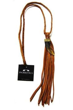 Leather Horn Tassel Necklace