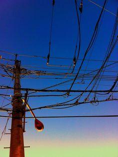 #電線電柱部 Transmission Line, Line Background, Power To The People, Electrical Wiring, Electric Power, Looking Up, Telephone, Utility Pole, Cable