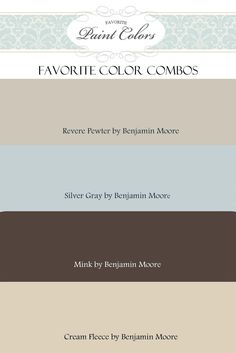 Color Combos with Revere Pewter by Benjamin Moore. Like Revere Pewter Wall Colors, House Colors, Paint Colours, Neutral Colors, Hallway Colors, Greige Paint Colors, Neutral Palette, Colour Schemes, Color Combinations