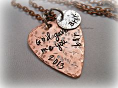 Hand Stamped God Gave Me You Textured Copper by DanielleJoyDesigns, $34.00