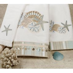 By the Sea Embroidered Bath Towel Set will turn your bathroom into a garden of seaside treasures, as these coastal towels fill the room with seashells. Towel Embroidery, Sewing Machine Embroidery, Embroidered Towels, Embroidered Bedding, Hand Towels Bathroom, Bath Towel Sets, Bath Towels, Monogram Towels, Personalized Towels