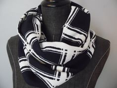 INFINITY Scarves. Circle Scarf.Tube Scarf.Liverpool Double Knit.Unisex.NAVY Blue.White.Plaid.Gift for her.Daughter.Friend.Product ID#SC0059 by GamGamzhandcrafted on Etsy