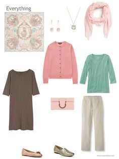a 4-piece capsule wardrobe based on beige and brown