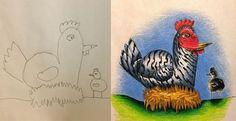 父と子供の心温まる交換絵。鉛筆で描いた子供の絵を出張中に着色して完成させるお父さん