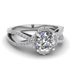 Round Cut Diamond Engagement Rings With White Diamonds In 14k White Gold   Calyx Charm Ring   Fascinating Diamonds
