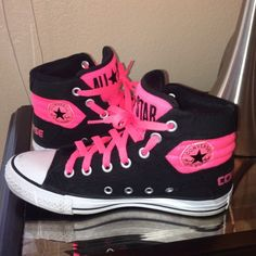 67% off Converse Shoes - Neon pink and black converse chuck taylor ...