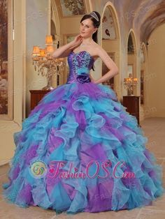 The Most Popular Purple and Aqua Blue Quinceanera Dres Sweetheart Ruffles Organza Ball Gown  http://www.fashionos.com    | quinceanera dress cheap | gorgeous quinceanera dress | elegant quinceanera dress |