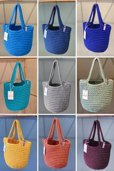 Almost endless list of colours. Easy care and fully washable. Crochet Tote Bags by anoukseydou Crotchet Bags, Crochet Tote, Crochet Handbags, Crochet Purses, Knitted Bags, Diy Crochet, Bag Sewing Pattern, Tote Bags Handmade, Diy Handbag