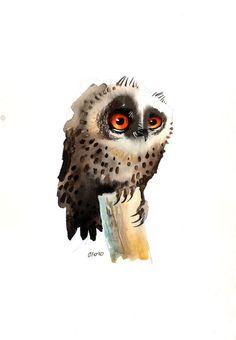 The Thoughtful Owl Fine Art Druck von ozozo auf Etsy