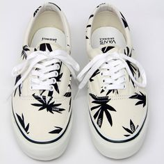 ccc4d7bf6f Classic Authentic White Vans w  Marjiuana Leaf Decals
