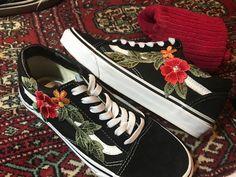 Custom Vans Shoes | Black Old Skool or Sk8-HI with Rose Applique by FLWRthreads on Etsy https://www.etsy.com/listing/506306855/custom-vans-shoes-black-old-skool-or-sk8