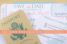 Destination wedding invitations. Boarding Pass Save The Dates and Passport Invitations.