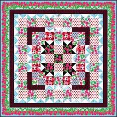 "Check out our FREE ""Cherry Picking Time"" quilt pattern using the collection, ""Cherries Jubilee"" by Greta Lynn for Kanvas Studio. Designed by Heidi Pridemore. Finished size: 52"" x 52""."