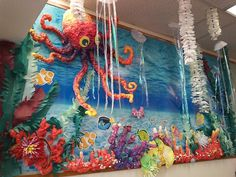 And this is how it all went down: Buy The GREAT STUFF and some acrylic paint. Spray a mound for the octopus' head. Under the Sea Theme School Displays, Classroom Displays, Classroom Themes, Ocean Themed Classroom, Under The Sea Theme, Under The Sea Party, School Decorations, School Themes, Sea Bulletin Board