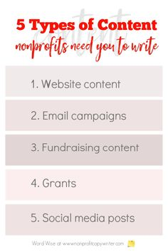 5 types of nonprofit content #writing with Word Wise at Nonprofit Copywriter #WritingTips #FreelanceWriting Easy Writing, Blog Writing, Writing A Book, Writing Tips, Grant Writing Courses, Fundraising Letter, Stages Of Writing, Blog Websites, Professional Writing