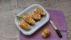 Hasselback potatoes, dollhouse food by Eleonora's Doll House Creations