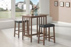 3 Pc Dining Table & Chair Set CS130004 Description : This space-saving three-piece bar set with a lovely look will be a welcome addition to your casual dining area. The counter height table and stools are finished in nut brown and feature straight-line legs for minimal look with casual contemporary appeal. The one buttoned tufted cushion top of the stool adds extra comfort for meals and gatherings in your home. Features : Finish : Gunmetal Style : Contemporary Table Features…