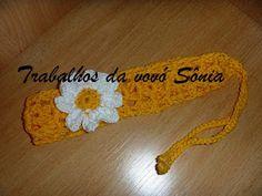 Trabalhos da vovó Sônia: Tiara ou faixa de cabelo para bebê amarela.margari...